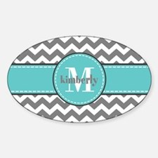 Gray and Turquoise Chevron Cu Decal