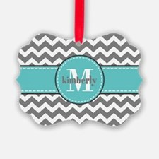 Gray and Turquoise Chevron Custom Ornament