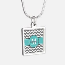 Gray and Turquoise Chevron Silver Square Necklace