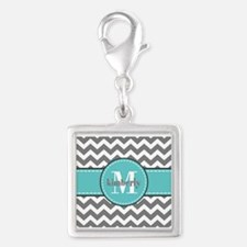 Gray and Turquoise Chevron Cu Silver Square Charm