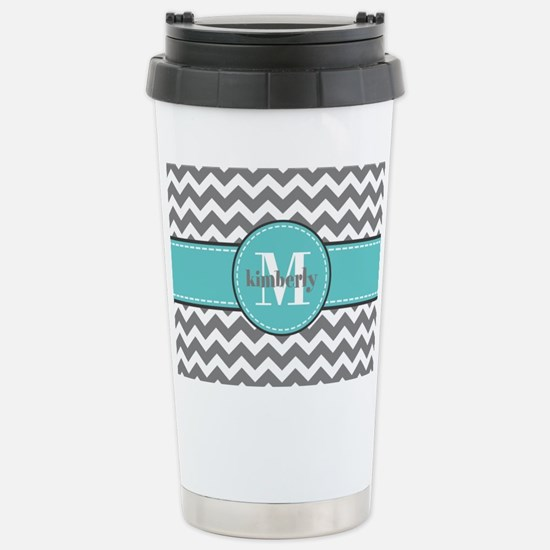 Gray and Turquoise Chev Stainless Steel Travel Mug
