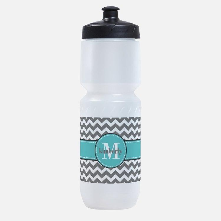 Gray and Turquoise Chevron Custom Mo Sports Bottle
