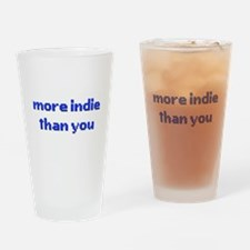 More Indie Than You 8bit Blue Drinking Glass