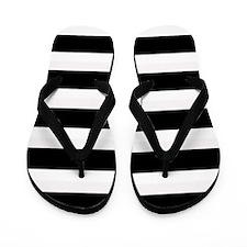 Black and White Stripes Striped Horizon Flip Flops