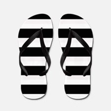 Black and White Stripes Striped Horizon Flip Flops