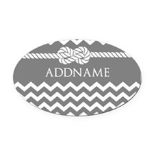 Gray and Charcoal Modern Chevron C Oval Car Magnet
