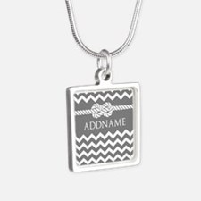 Gray and Charcoal Modern C Silver Square Necklace