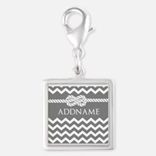 Gray and Charcoal Modern Chev Silver Square Charm