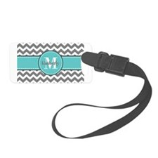 Gray and Charcoal Modern Chevron Luggage Tag