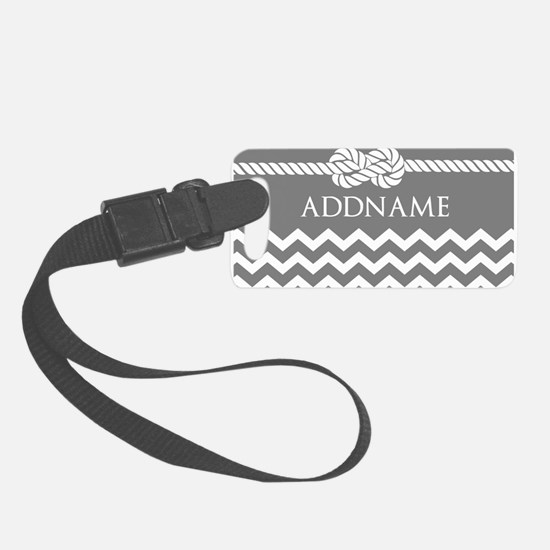 Gray and Charcoal Modern Chevron Small Luggage Tag