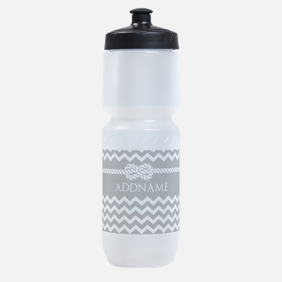 Gray and Charcoal Modern Chevron Cus Sports Bottle