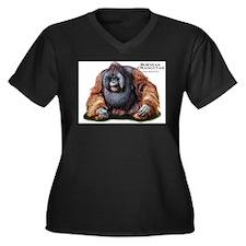 Bornean Oran Women's Plus Size V-Neck Dark T-Shirt