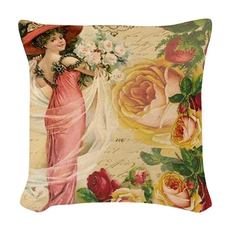 Rose Lady Woven Throw Pillow By Studio1027