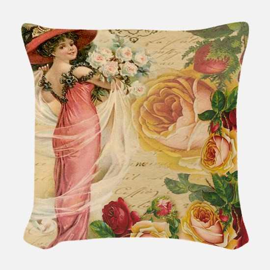Rose Lady Woven Throw Pillow