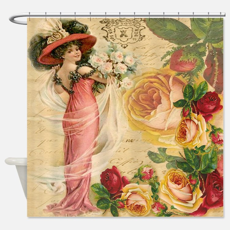 Rose Lady Shower Curtain. Victorian Bathroom Accessories   Decor   CafePress
