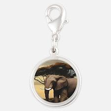 Elephant Silver Round Charm