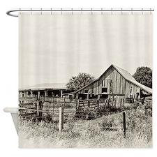 Iowa Dusty Dirt Road Barn Shower Curtain