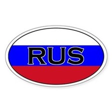 Russian flag with text Oval Decal