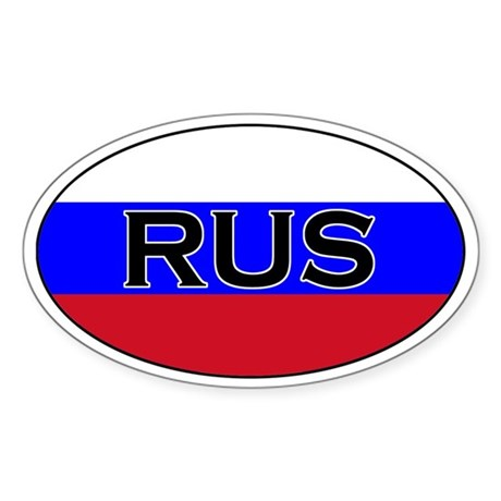 Russian flag with text Oval Sticker