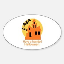 Haunted Halloween Oval Decal