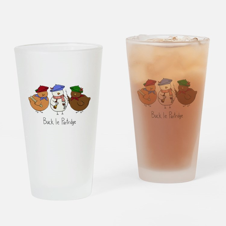 Three French Hens Drinking Glass