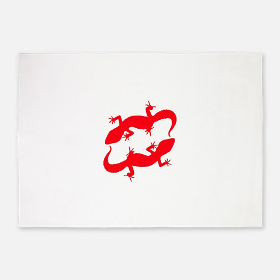 Red Leopard Geckos 5'x7'Area Rug