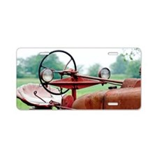 Red Tractor Aluminum License Plate