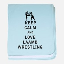 Keep Calm and Love Laamb Wrestling baby blanket