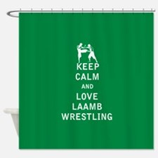 Keep Calm and Love Laamb Wrestling Shower Curtain