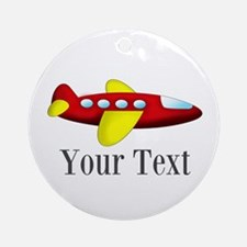 Personalizable Red and Yellow Airplane Ornament (R