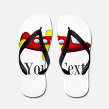 Personalizable Red and Yellow Airplane Flip Flops