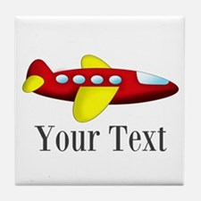 Personalizable Red and Yellow Airplane Tile Coaste