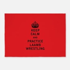 Keep Calm and Practice Laamb Wrestling 5'x7'Area R