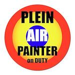 Plein Air Painter On Duty Round Car Magnet