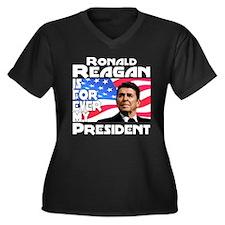 Reagan 4ever Women's Plus Size V-Neck Dark T-Shirt
