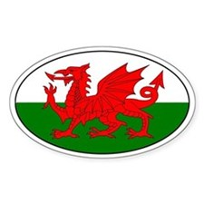 Welsh flag with text Oval Decal