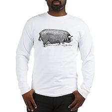 Hog Wild! Antique Image of Far Long Sleeve T-Shirt
