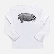 Hog Wild! Antique Image of Far Long Sleeve T-Shirt