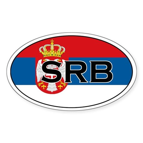 Serbian flag with text Oval Sticker