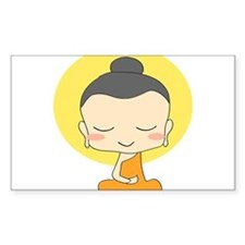 Cartoon Monk Meditates Decal