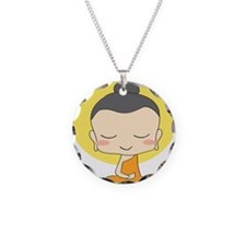 Cartoon Monk Meditates Necklace Circle Charm