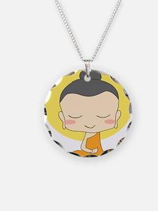 Cartoon Monk Meditates Necklace Circle Charm