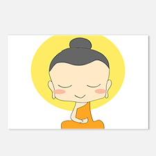 Cartoon Monk Meditates Postcards (Package of 8)
