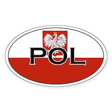 Polish flag sith text Oval Decal