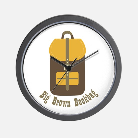 Big Brown Bookbag Wall Clock