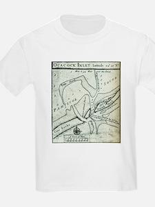 Ocracoke Inlet Map - Blackeard's Anchoring T-Shirt