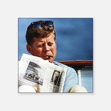 """JFK Smoking Square Sticker 3"""" x 3"""""""