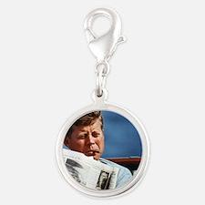 JFK Smoking Silver Round Charm