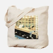 Japanese painting of cat at the window Tote Bag