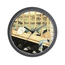 Japanese painting of cat at the window Wall Clock